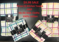 SAVE $11 ~ 100% Cotton Kitchen Towels AND Dish Cloths Set of 9 ~