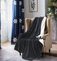 Black Pin Stripe Sherpa Throw