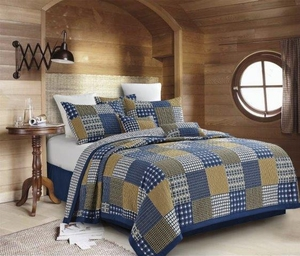 Blue Blocks Quilt Ensemble
