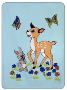 Blue Bunny Boy and Fawn Baby Blanket