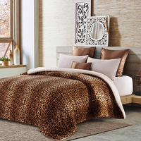 Brown Leopard Sherpa Blanket