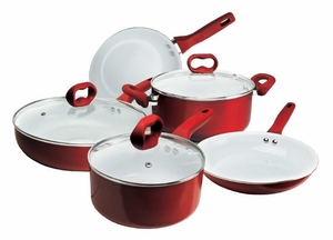 Candy Apple Red Ceramic Cookware Set