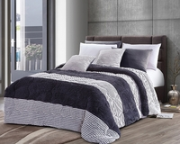 Charcoal Stripe Luxury Textured Flannel Blanket