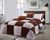 Chocolate Squares Luxury Textured Flannel Blanket
