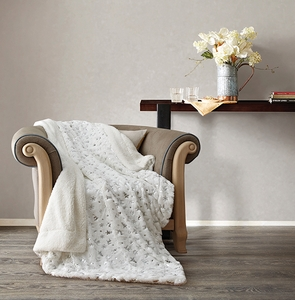 Christmas Morning White  Metallic Sherpa Throw
