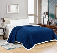 Elite Oversized Sherpa Blanket:  Navy