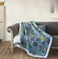 Enchanted Teals Quilted Sherpa Throw