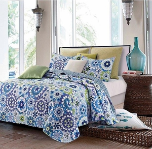 Fiori Blue Quilt Set