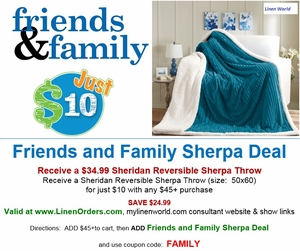 Friends & Family $10 Sherpa Throw Deal