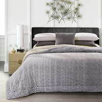 Gray Cutwork Chevron Sherpa Blanket