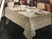 """Heirloom Nottingham Lace 70"""" Round  White Tablecloth"""