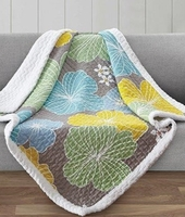 Hibiscus Quilted Sherpa Throw