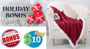 FINAL DAYS!  Ends Sunday!  Holiday Sherpa Throw Just $10 with ANY Purchase!