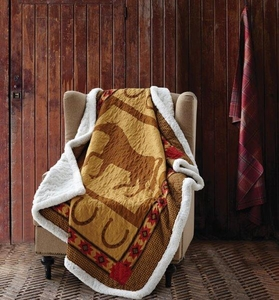 Horse & Horseshoe Quilted Sherpa Throw