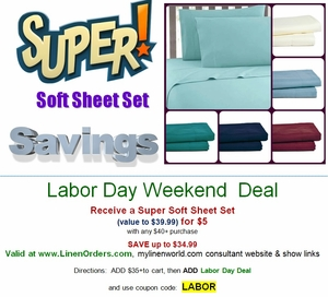 **Labor Day Weekend Deal**  $5 Sheet Sets!
