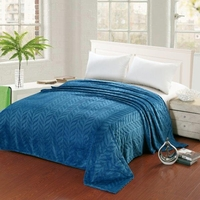 Leaf Etched Jacquard Blanket - Blue