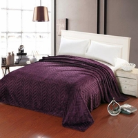 Leaf Etched Jacquard Blanket - Purple