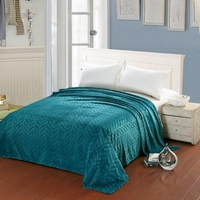 Leaf Etched Jacquard Blanket - Teal
