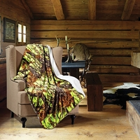 Lime Green Woods Sherpa Throw