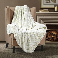 Lime Roses Sherpa Throw