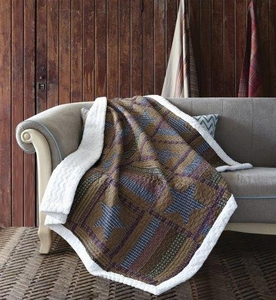 Lodge Patchwork Quilted Sherpa Throw