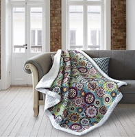 Medallion Brights Quilted Sherpa Throw