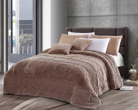 Mocha Stripe Luxury Textured Flannel Blanket