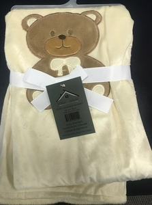 Nobel House Teddy Bear Blanket:  CREAM