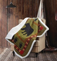 Patchwork Bear Quilted Sherpa Throw