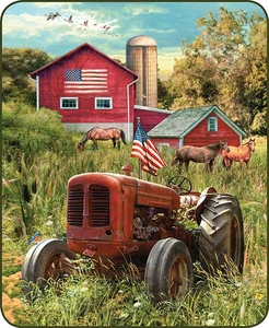 Patriotic Farm & Tractor Luxury Blanket