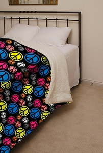 Peace Sign Sherpa Blanket