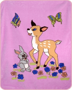Pink Bunny Boy and Fawn Baby Blanket