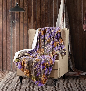 Purple Woods Sherpa Throw