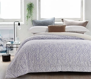 Roses Lilac Luxury Textured Flannel Blanket