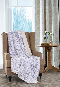 Roses Lilac Sherpa Throw