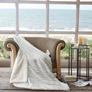 White Ocean Metallic Sherpa Throw