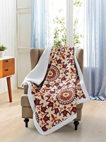 Shanti Terracotta/Ivory Quilted Sherpa Throw