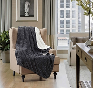 Cutwork Slate Sherpa Throw