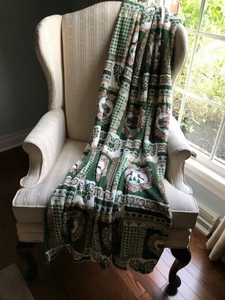 Soft Plush Blanket Throw:  green homestead
