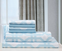 Super Soft Trellis Sheet Set Light Blue & White