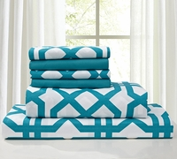 Super Soft Trellis Sheet Set Teal & White