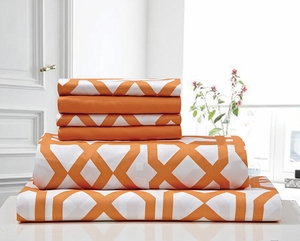 Super Soft Trellis Sheet Set Orange & White