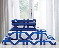 Super Soft Trellis Sheet Set Regatta Blue & White