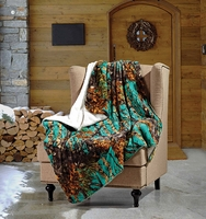 Teal Woods Sherpa Throw