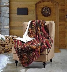 The Woods  Burgundy Sherpa Throw