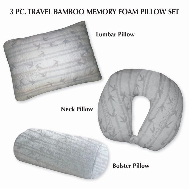 three piece travel bamboo memory foam pillow gift set