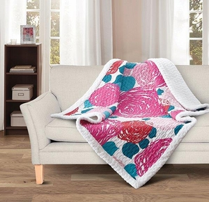 Wild Rose Quilted Sherpa Throw