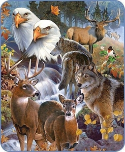 Wildlife Collage Luxury Blanket