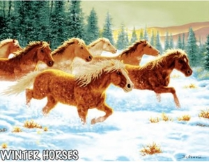 Winter Horses Throw Blanket