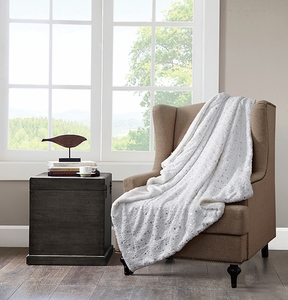 Wish Upon A Star (White) Metallic Sherpa Throw